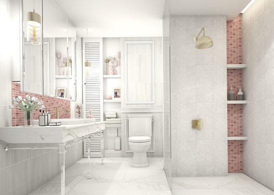 ตัวอย่างห้องน้ำส่วนตัว หรูหราทันสมัย พร้อมพื้นที่จัดเก็บของที่ซ่อนตัวได้อย่างลงตัว