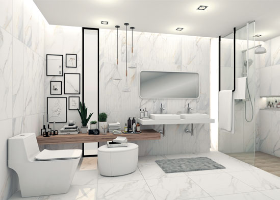 แบบห้องน้ำสวยหรู ลวดลายหินอ่อน บอกเล่าเรื่องราวผ่านห้องน้ำส่วนตัวในแบบที่เป็นคุณ